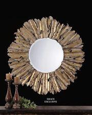 Modern Hammered Sunburst Gold Wall Mirror | Rustic Metal