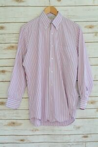Luciano Barbera ITALY Purple RED blue striped COTTON long sleeve dress shirt, L