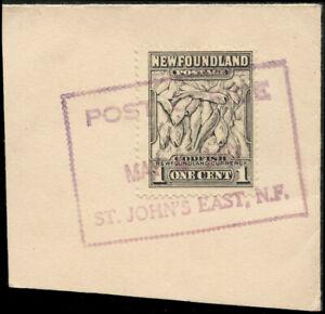 NEWFOUNDLAND 1937 BOXED POST OFFICE / ST. JOHN'S EAST, N.F.
