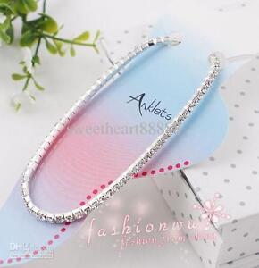 Clear Colour CZ Crystal Gems Silver Coloured Ankle Anklet Bracelet Fits All UK