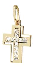 Sehr kleines Kreuz Gold 585 mit Zirkonias Goldkreuz zur Taufe Goldanhänger 14 kt