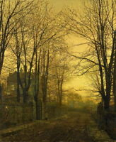Art Giclee HD Print Peaceful Dusk Road Oil painting Printed on canvas P410