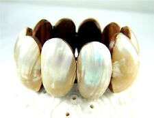 "Handmade Mother of Pearl Shell Cuff Bracelet 6""-8"" Stretchable Jewelry BA019"