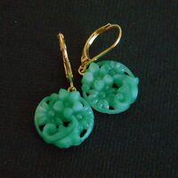 Vintage Jade Green Pressed Peking Glass Earrings