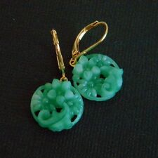 Vintage Jade Green Pressed Peking Glass Earrings