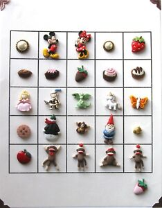 Card of 26 Snap-Together Buttons Sock Monkeys, Candy, Mickey Minnie Mouse Gnome