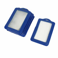 Blue Clear Faux Leather Business ID Badge Card Holders 10 Pieces