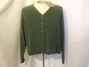 VTG April Cornell Sweater Women M Green V-Neck Button Embellished Soft Crop NWT