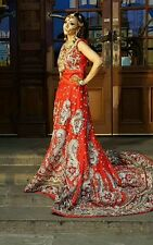 Traditional Asian Pakistani/Indian Red bridal lengha size 10-12