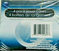 4 New - JEWEL CASES clear plastic cd, dvd, blu-ray Disc Storage Case