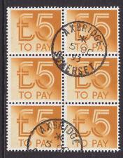 1982 £5 DULL ORANGE POSTAGE DUE SGD101 BLOCK OF 6 FINE USED