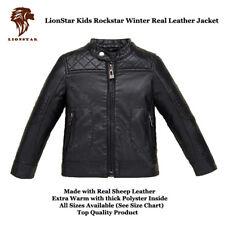 Lionstar Unisex Kids Rockstar Top Quality Real Leather Warm Winter Jacket