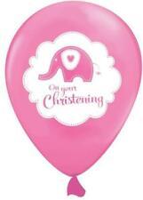 6 Pink Cute Christening Elephant Helium/Air Latex Balloons Decoration