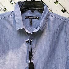 NWT William Rast Button Front Shirt Men's Medium 100% Cotton Chambry Dobby Strip
