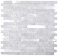 Vinylmosaik Stäbchen grau silber selbstklebend Wand Fliesenspiegel WB200-4GS