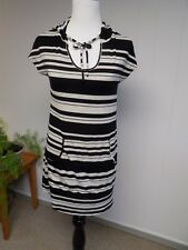 SOMA Live Loungewear Black Heather Stripe Hooded Beach Cover Up Dress Top S