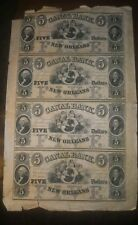 Rare 1880s New Orleans Canal Bank $5 Obsolete Bank Notes, Uncut sheet of 4, unc