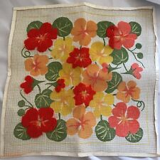 Vintage 1970's Floral Needlepoint Canvas