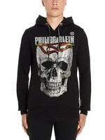 SALE Authentic Philipp Plein Skull&Flame Slim Fit Black Hoodie SMALL BNWT S