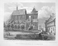 GERMANY Hildesheim St. Andreaskirche Cathedral - 1860 Original Engraving Print