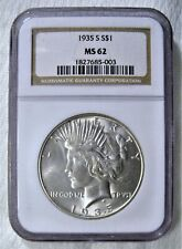 1935-S Peace Silver Dollar NGC MS-62