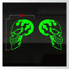 Skulls Flame Fire Flaming Setof2 GREEN Motorcycle Truck Car Decal Stickers 7x5.5