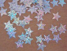 50 Silver Iridescent Star Die Cut Metallic Foil/Scrapbook Confetti Paper Punch