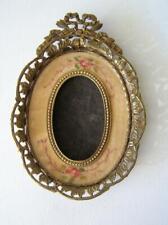 Antique Victorian Oval Frame Gold Gilt w/velveteen insert airbrushed flowers 3x2