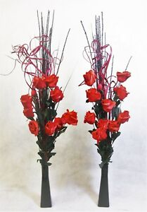 Set 2 Red Roses and grass in GLASS vases - wedding tables display lounge