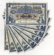 Royal Bank of Scotland una libra £ 1 1944-47 Marrón condición circulada limpio vf