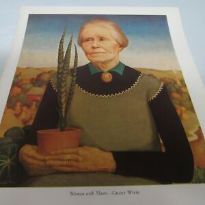 WOOD. 1940. WOMAN WITH PLANTS. VINTAGE BOOK PRINT. GIFT