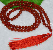 8mm Red Agate Chalcedony Tibet Buddhist 108 Prayer Beads Mala Necklace JN487