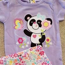 SWEET! NEW BABY GARANIMALS 0-3 MONTH 2PC PURPLE PANDA FLORAL OUTFIT