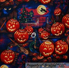 BonEful Fabric FQ Cotton Quilt Black Orange Halloween CAT Pumpkin Owl L Moon Hat