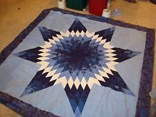 TWILIGHT BLUE STAR QUILT TOP - Not Quilted