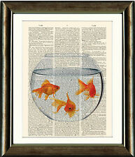 Old Antique Book page Art Print - Goldfish  Bowl - Dictionary Page Wall Art