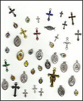 CATHOLIC RELIGIOUS LOT 40+ VINTAGE & NEW PENDANTS Jesus SAINT MEDALS CRUCIFIXES+