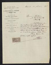 """PARIS (II°) COUVERTURE PLOMBERIE ZINGUERIE """"J. TRAVERS & J. THURIN"""" en 1893"""