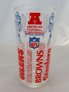 NFL AFC Central Division Bengals, Browns, Steelers, Oilers Glass 1976 Welch's ®