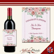 L140 Personalised Wedding Engagement Floral Special Custom Wine Bottle Label
