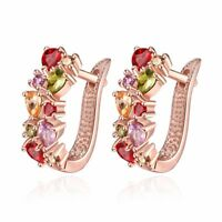 Fashion Jewelry Rose Gold Earrings High Quality Multicolor Clip Earrings Gifts,