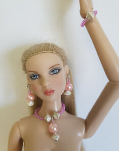 "PEARLY PINK Handmade Jewelry Set for 16"" Fashion Dolls Tyler Cami Gene Alex d4e"