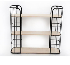 Wall Hanging Wire And Wood Shelf Rack Storage Unit Display Stand Holder