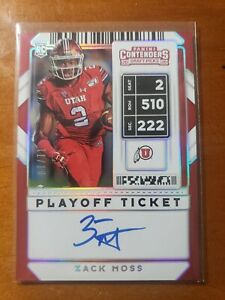 2020 Panini Contenders Draft Pick Zack Moss Auto Variation Playoff Ticket 11/18