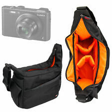 Durable Shoulder 'Sling' Bag in Black & Orange for Panasonic DMC-LF1 Camera