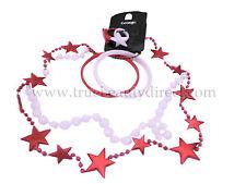 Girls 6 PK Christmas Set 2 Rings 2 Necklaces 2 Bangles Xmas Stars Red White