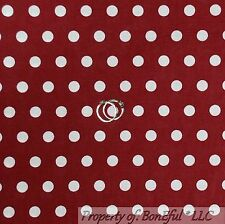 BonEful Fabric FQ Cotton Quilt Maroon White Red POLKA DOT Alabama BAMA Girl Boy
