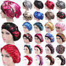 Women Silk Satin Night Sleep Cap Hair Bonnet Hat Head Cover Wide Band Elastic US
