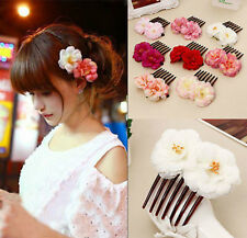 Womens Double Silk Rose Flower Hair Comb Hair Clip Wedding Bridal Party Fashion