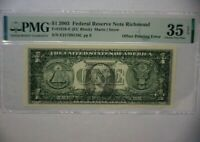 "2003 $1 U.S. Fed. Reserve Note STRONG OFFSET PRINT FRONT to BACK Error -""CHOICE"""